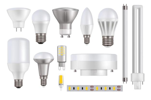 Led-lampen geïsoleerd op een witte achtergrond Premium Vector