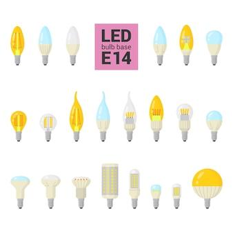 Led-lampen met basis, kleurrijke pictogrammenset op witte achtergrond