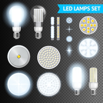 Led-lampen transparante set Gratis Vector