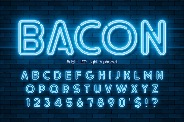 Led licht 3d alfabet, neon extra gloeiend modern type. swatch kleur controle.
