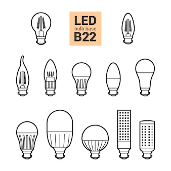 Led-licht b22 lampen vector overzicht icon set