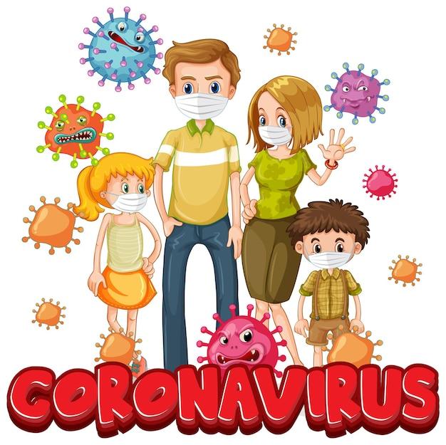 Leden van de familie dragen masker met coronavirus-lettertype