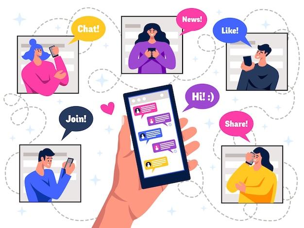 Leden van het sociale netwerk houden mobiel live chatberichten vast, plat kleurrijk schema met tekstballonnen