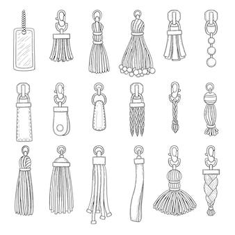 Lederen accessoires. handtas franjes trinket vector ouderwetse items collectie. illustratie hanger accessoire, lederen trinket, accessoires voor handtas