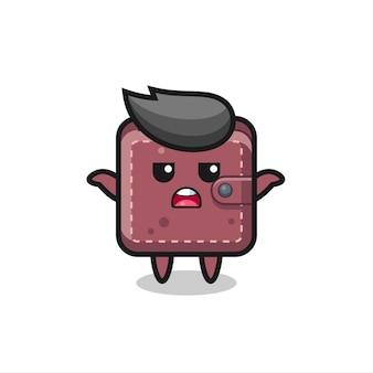 Lederen portemonnee mascotte karakter zegt ik weet het niet, schattig stijlontwerp voor t-shirt, sticker, logo-element