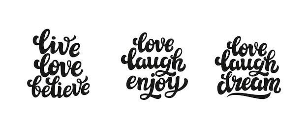 Leef de liefde geloof geniet van het van letters voorzien van dromen