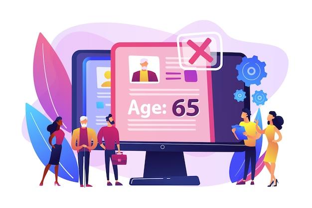 Leeftijdsdiscriminatie door hr-bureau. sollicitant cv, persoonlijk profiel. ageism sociaal probleem, stop leeftijdsdiscriminatie, ouderen werkgelegenheidsproblemen concept.