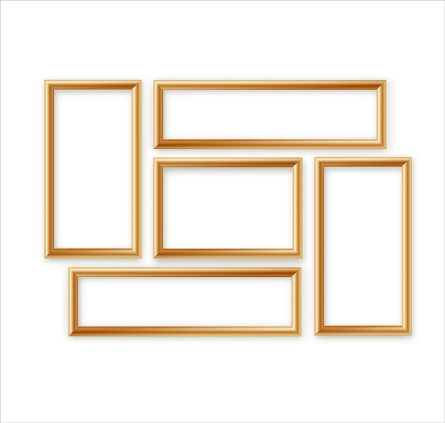 Leeg afbeeldingsframe sjabloon samenstelling instellen geïsoleerd op muur achtergrond