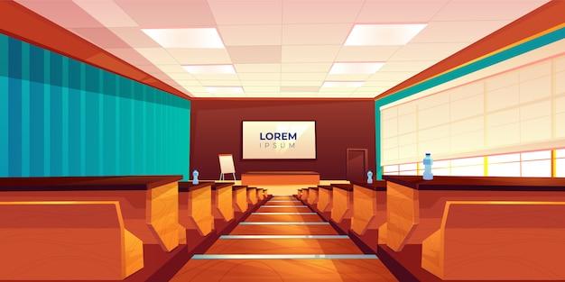 Leeg auditorium, collegezaal of vergaderruimte