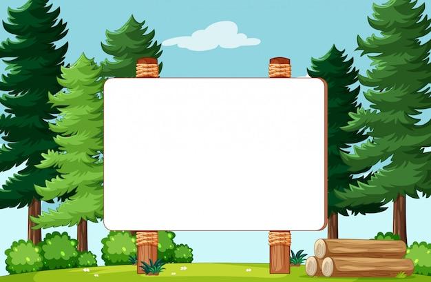 Leeg banner bord in natuur park landschap
