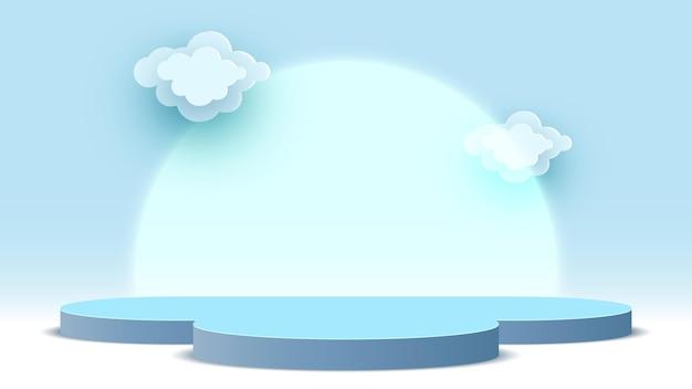 Leeg blauw podium met wolken voetstuk producten display platform beursstand