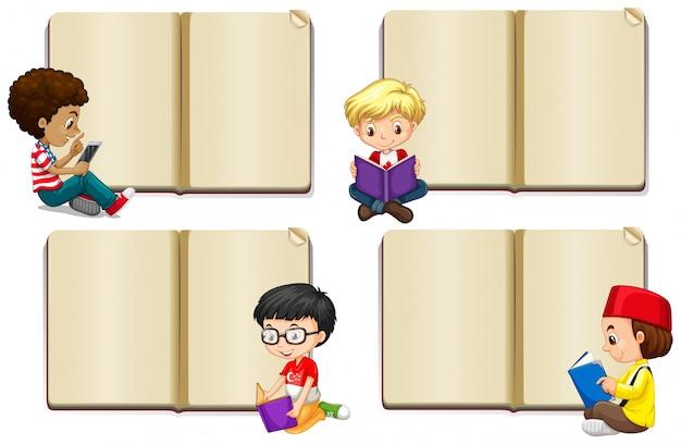 Leeg boek sjabloon met jongens lezen illustratie