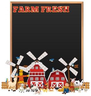 Leeg bord met boerderij vers logo en dierenboerderij set geïsoleerd