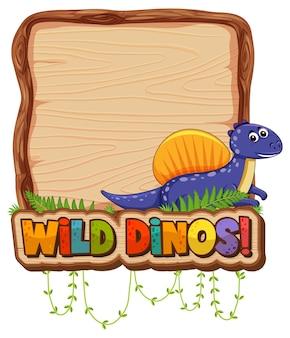 Leeg bordsjabloon met schattige dinosaurus op witte achtergrond