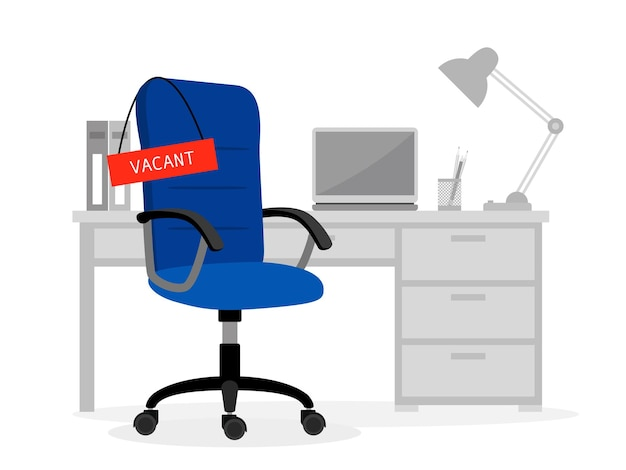 Leeg bureau en vacante stoel. computer gratis baan cartoon vectorillustratie voor vacature concept, mensen huren positie