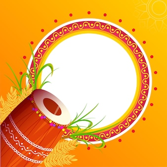 Leeg cirkelvormig frame met dhol-instrument, tarweoor, suikerriet op oranje achtergrond