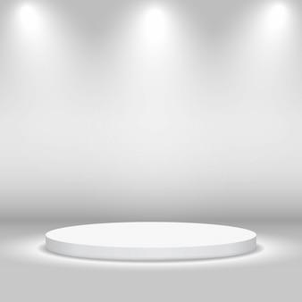 Leeg cirkelvormig stadium met lichten