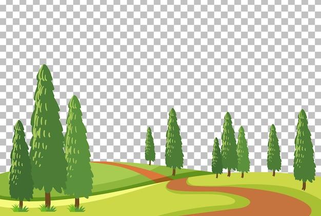 Leeg de scènelandschap van het natuurpark op transparante achtergrond