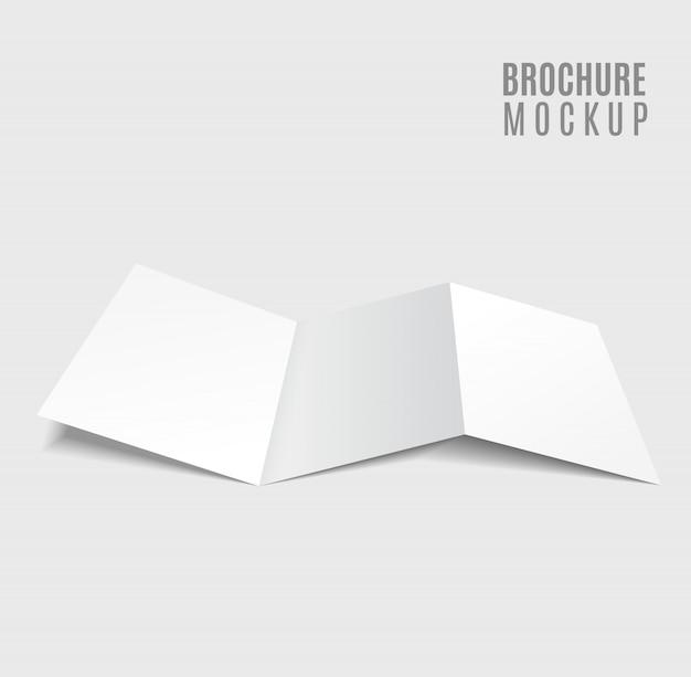 Leeg drievoudig die brochureontwerp op grijs wordt geïsoleerd