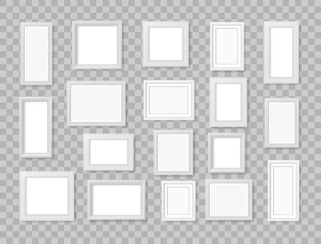 Leeg fotolijstje aan de muur. witte realistische vierkante lege afbeeldingsfotokader. modern designelement voor uw product of presentatie. modern leeg kunstwerk schilderen. illustratie.