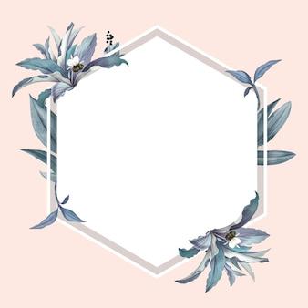 Leeg frame met blauwe bladeren ontwerp vector