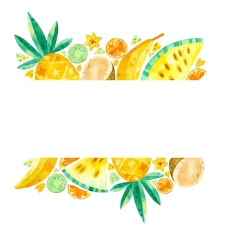 Leeg frame met tropische vruchten hand getrokken illustratie. zomer fruitmix. leeg frame.