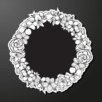 Leeg frame met zwart-wit bloemdessin