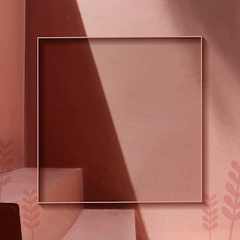 Leeg frame op koperen botanische patroonachtergrond