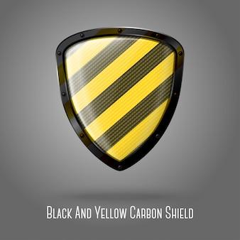 Leeg geel en zwart voorzichtigheid realistisch glanzend schild met koolstoftextuur.