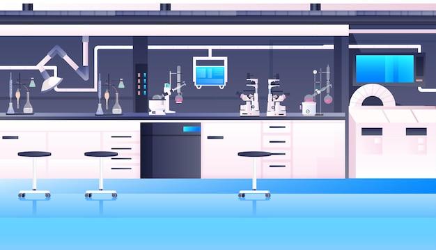 Leeg geen mensen chemisch onderzoekslaboratorium met verschillende apparatuur wetenschapper werkplek wetenschap onderwijs concept modern laboratorium interieur horizontaal