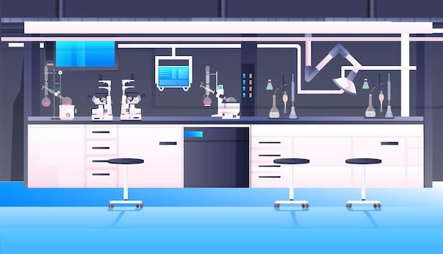 Leeg geen mensen chemisch onderzoekslaboratorium met verschillende apparatuur wetenschapper werkplek wetenschappelijk onderwijsconcept