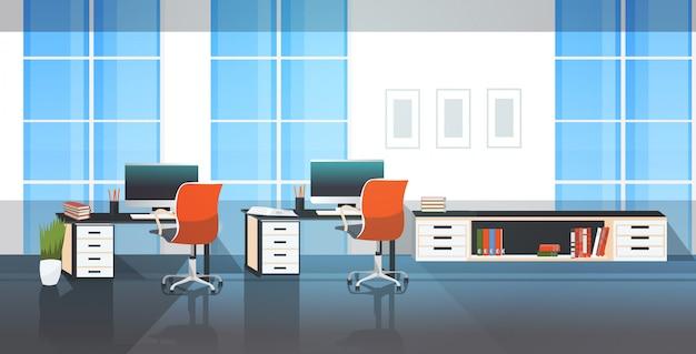 Leeg geen mensen coworking center moderne open ruimte kantoor interieur schets