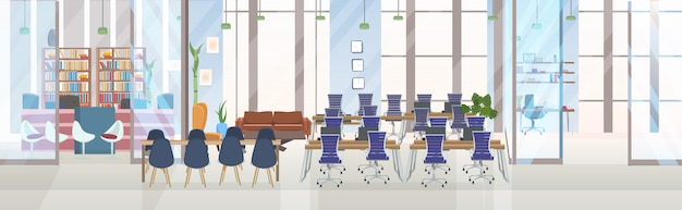 Leeg geen mensen creatief co-working center conferentie trainingsruimte met ronde tafel werkplek en presentatieconcept creatief kantoor interieur horizontale banner
