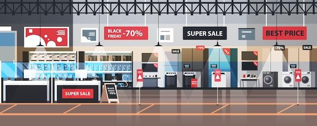 Leeg geen mensen elektronica markt zwarte vrijdag grote verkoop promotie korting winkelen concept huishoudelijke apparaten winkel interieur