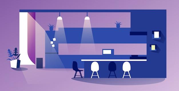 Leeg geen mensen moderne keuken interieur eigentijds appartement met meubilair