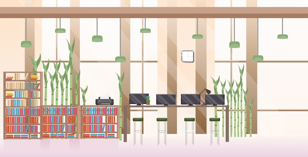 Leeg geen mensen open ruimte creatief co-working center modern werkplek kantoor interieur horizontaal