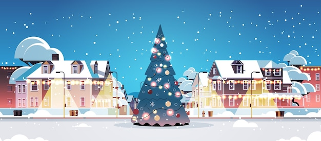 Leeg geen mensen stad straat met versierde dennenboom vrolijk kerstfeest gelukkig nieuwjaar winter vakantie viering concept stadsgezicht achtergrond wenskaart horizontale vectorillustratie