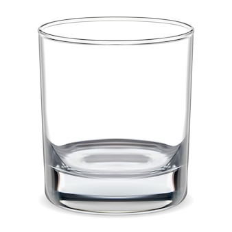 Leeg glas. transparant whiskyglas. glaswerk