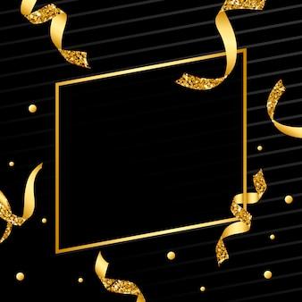 Leeg gouden embleem met confettienvector