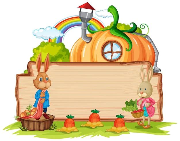 Leeg houten bord met een konijn in de tuin