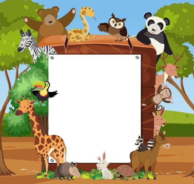 Leeg houten frame met verschillende wilde dieren in het bos
