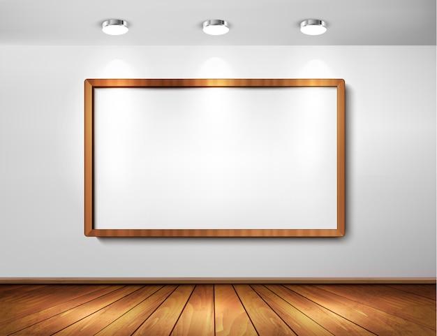 Leeg houten frame op een muur met schijnwerpers en houten vloer