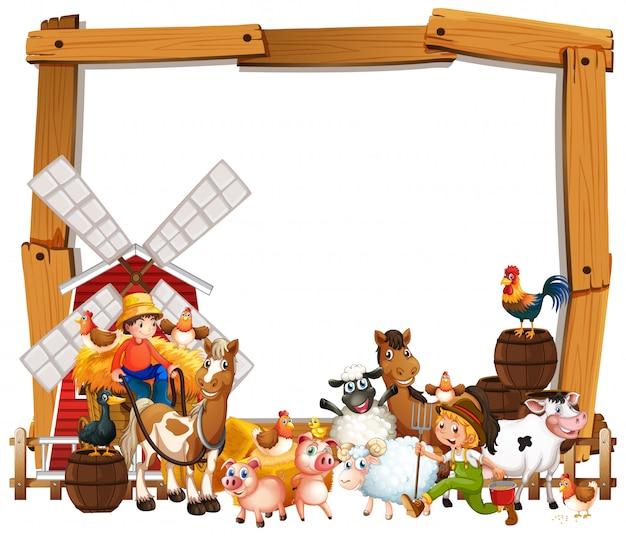 Leeg houten kadermalplaatje met dierlijke geïsoleerde landbouwbedrijfreeks