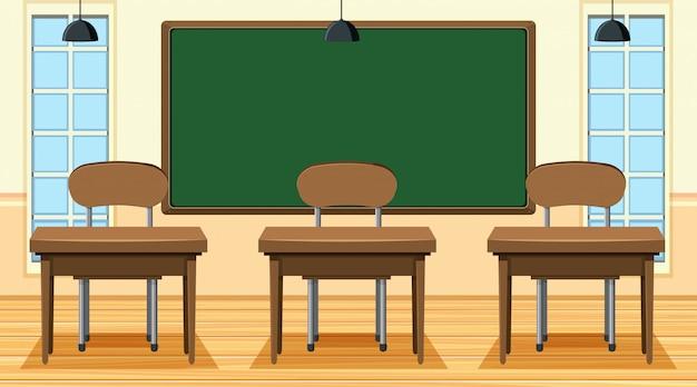 Leeg klaslokaal met bord en bureaus