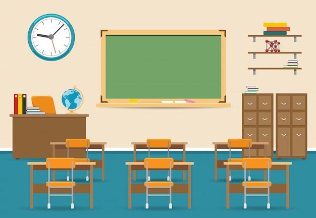 Leeg klaslokaalbinnenland met bord