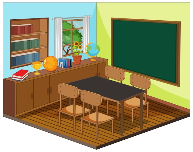 Leeg klaslokaalinterieur met klaslokaalelementen