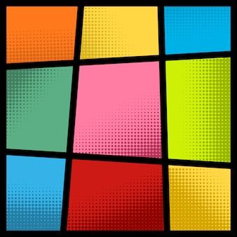 Leeg komisch paginamodel met kleurenachtergrond. element voor poster, kaart, print, banner, flyer. beeld