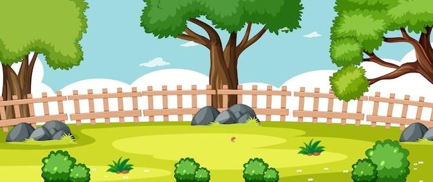 Leeg landschap in de scène van het natuurpark met enkele bomen