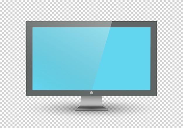 Leeg lcd-scherm, plasmaschermen of tv voor uw monitor. computer of zwarte fotolijst, op een transparante achtergrond. illustratie.