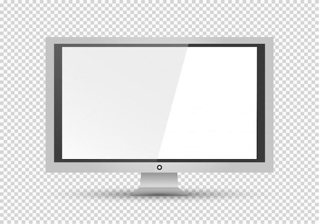 Leeg lcd-scherm, plasmaschermen of tv voor uw monitorontwerp. computer of zwarte fotolijst, geïsoleerd op een transparante achtergrond. illustratie.